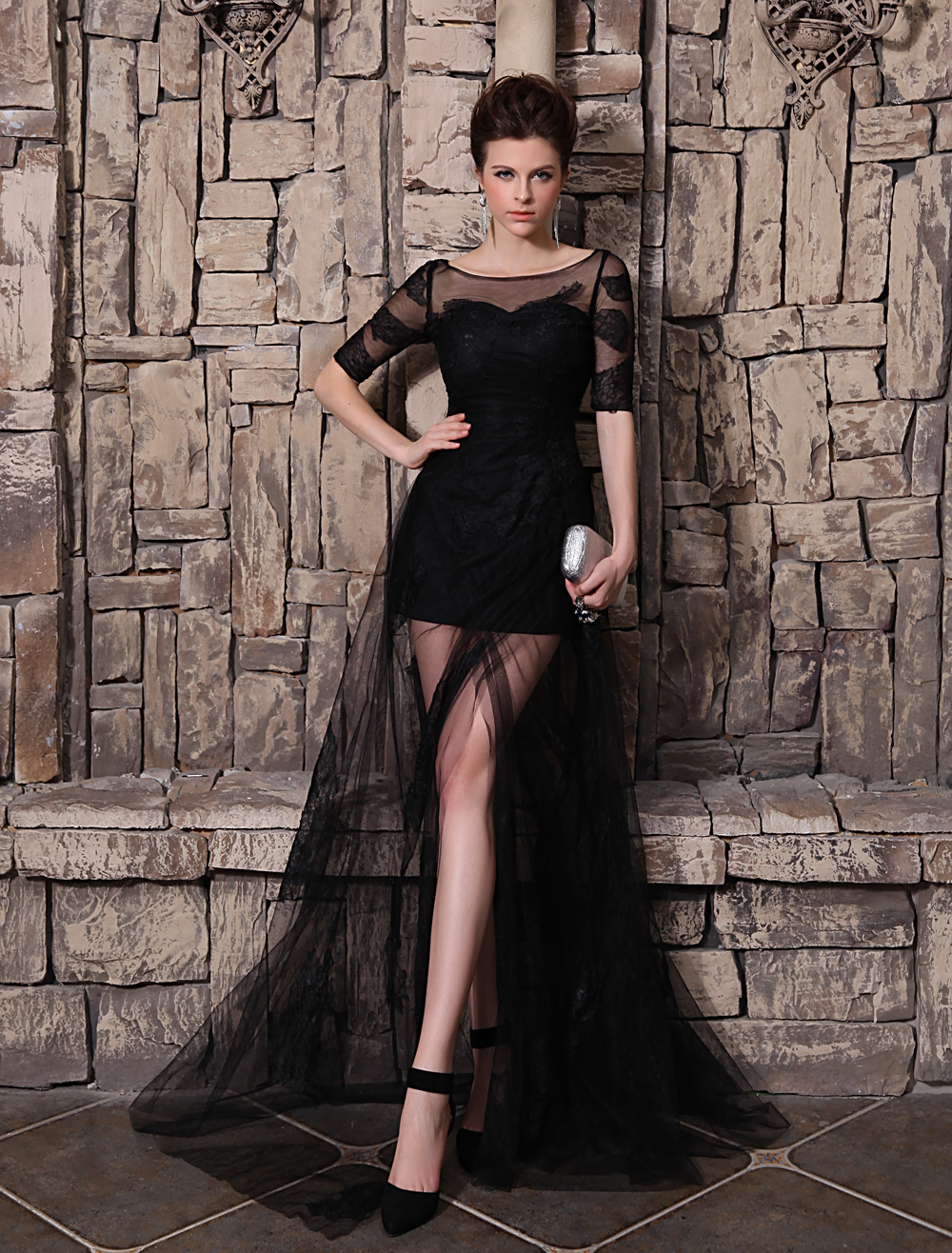 Black Evening Dress A-Line Tulle Front Split Half Sleeves Illusion Neckline Skirt Milanoo