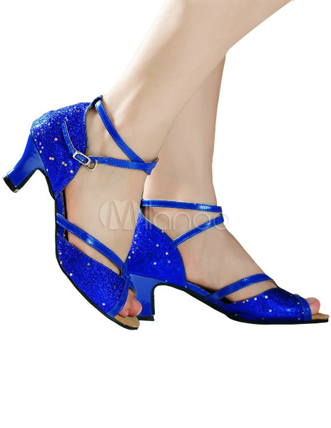 Fashion Royal Blue Ankle Strap Peep Toe Sequined Cloth Latin Shoes