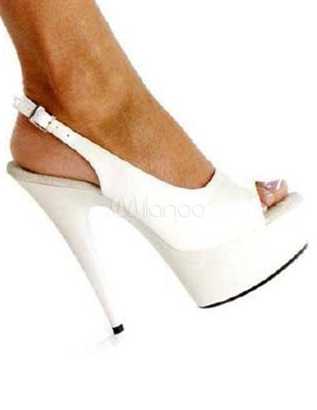 White Peep Toe Patent PU Slingback Women's Sexy Sandals