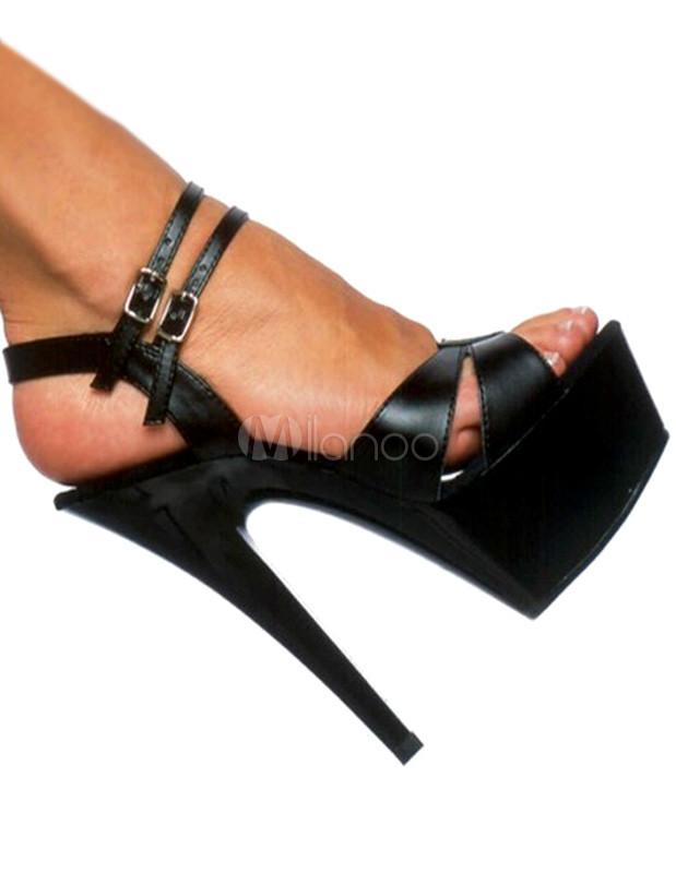 Black Open Toe Patent PU Sexy Sandals