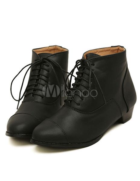 f3125600a4c ... Calidad negro cordones redondos botines planos de Toe PU cuero mujer  -No.3 ...