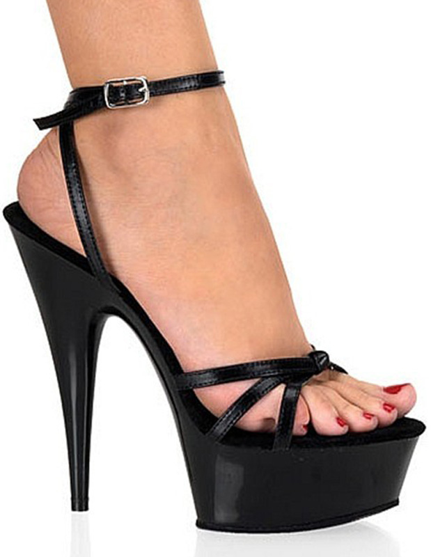 Buy Black Open Toe Patent PU Ankle Strap Sexy Sandals for $66.49 in Milanoo store
