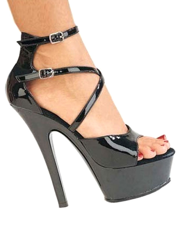 Zapatos Peep toe de PU negro con tiras cruzadas L3JfVz2r