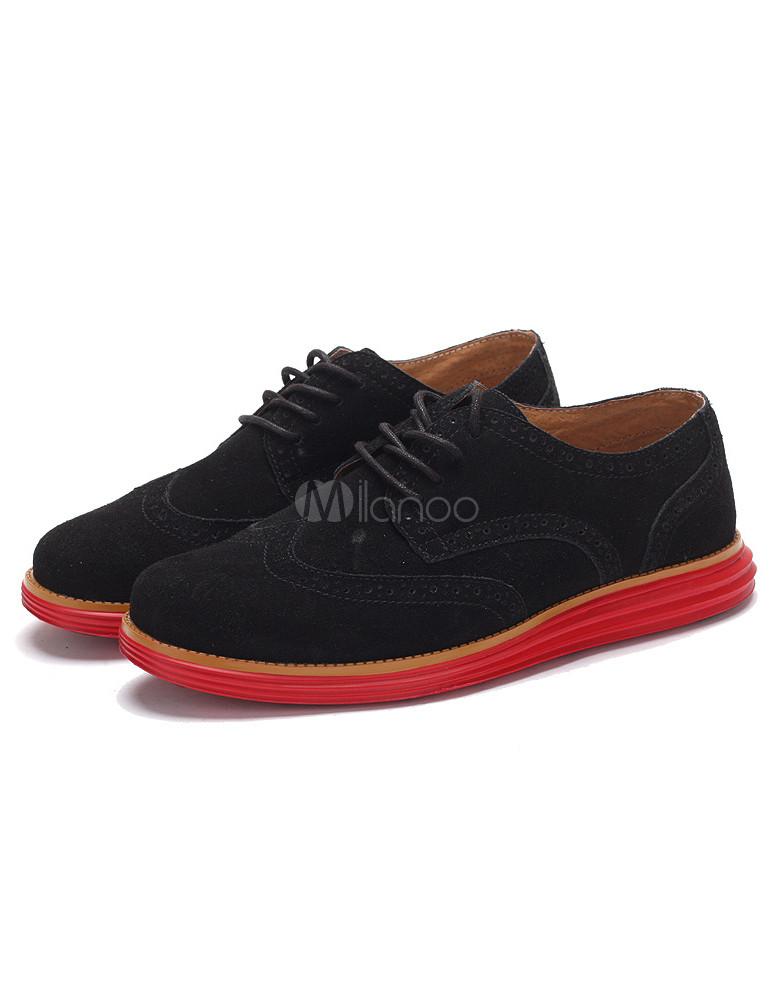Chaussures à avec semelle rond en suédé rouge cuir bout noir L54RAq3j