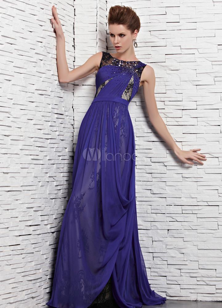 Vestido de fiesta de seda elástica de azul francia con escote ...