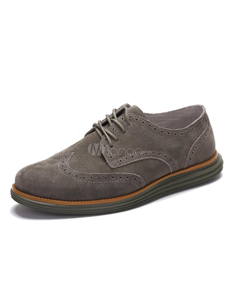 Elegante grigio tondo punta pizzo Casual scarpe camoscio pelle uomo -No.1  ... f9c56b72257