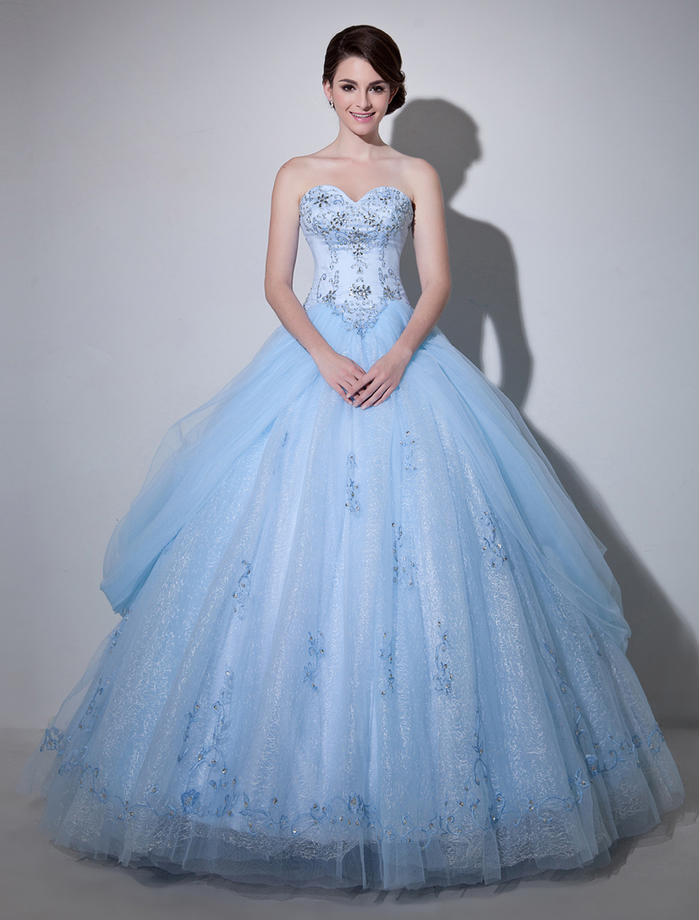 Blue Wedding Dress Lace Ball Gown Floor-Length Sweetheart Strapless Beading Princess Bridal Gown Milanoo