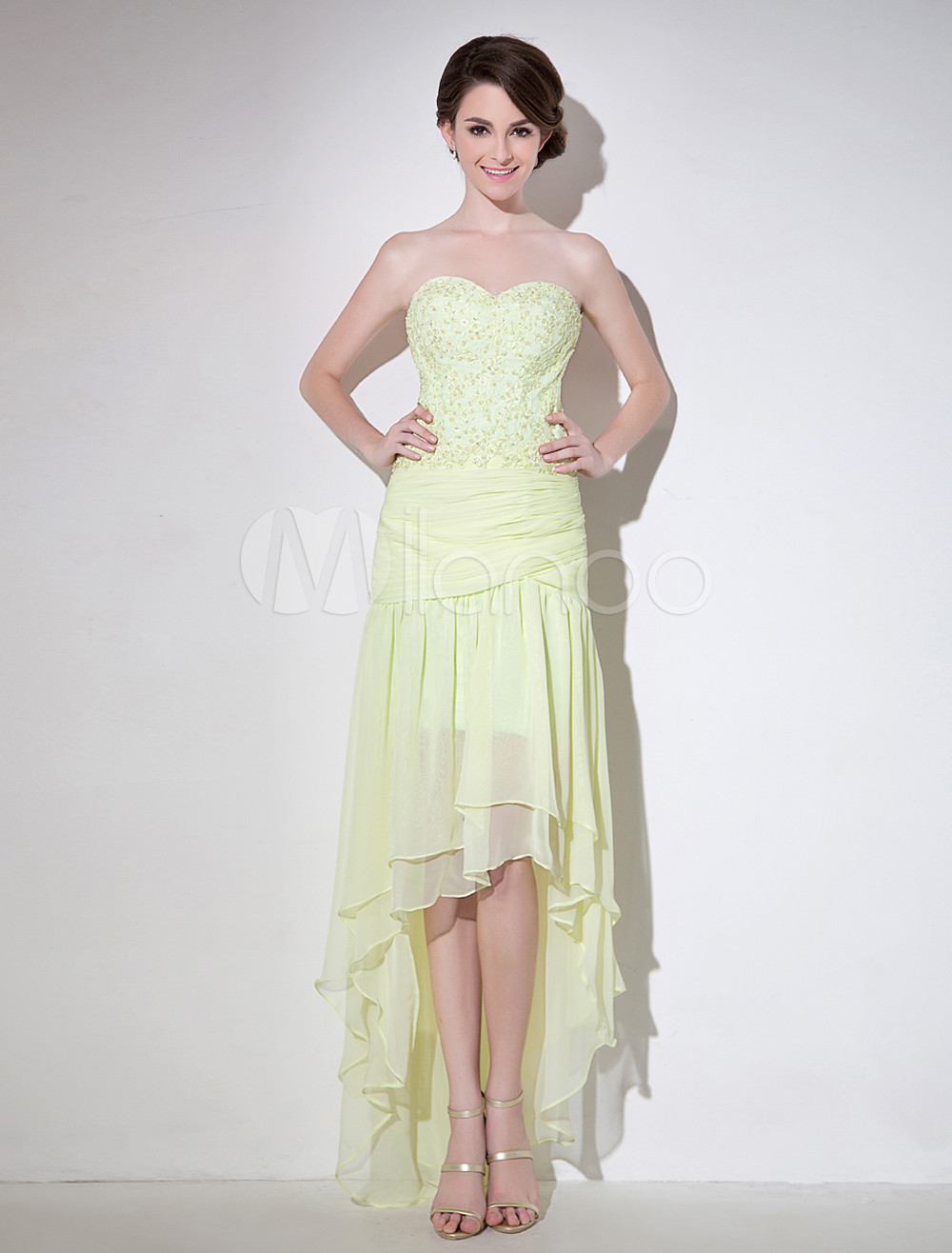 Buy Sheath Daffodil Sweetheart Neck Beading Chiffon Prom Dress Milanoo for $139.99 in Milanoo store