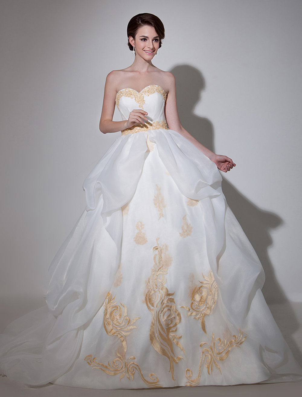 Ivory Sweetheart Ball Gown Strapless Wedding Dress For Bride With Embroidered Milanoo