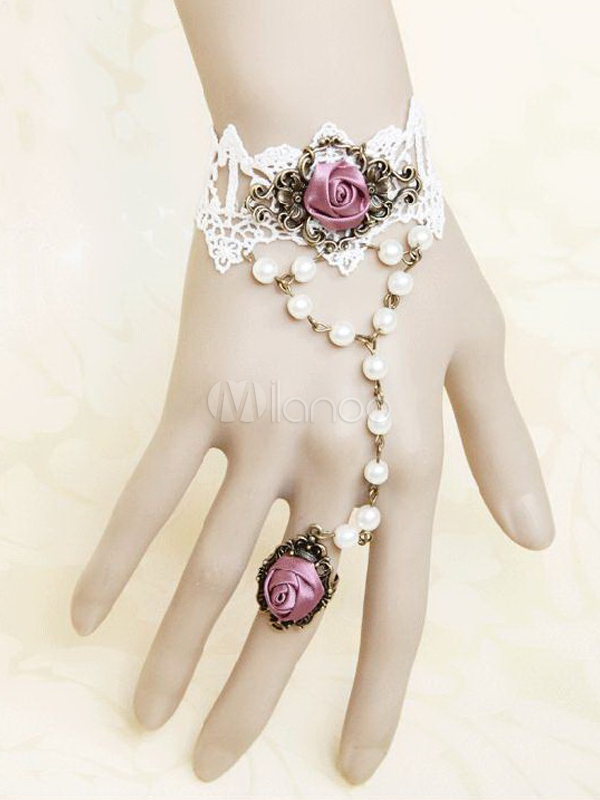 Buy Classic White Metal Cute Lolita Bracelet with Ring for $11.19 in Milanoo store