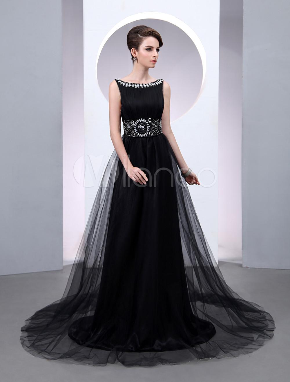 Black Wedding Dress Satin Tulle Scoop Neck Court Train Rhinestone Beaded Low Back Evening Dress