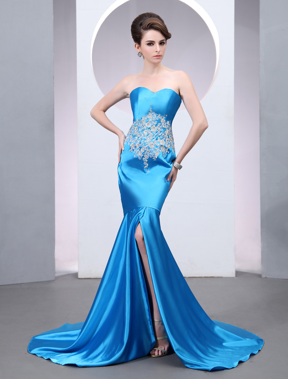 Satin Evening Dress Mermaid Sweetheart Beading Prom Dress Teal Strapless Sleeveless Slit Court Train Party Dress