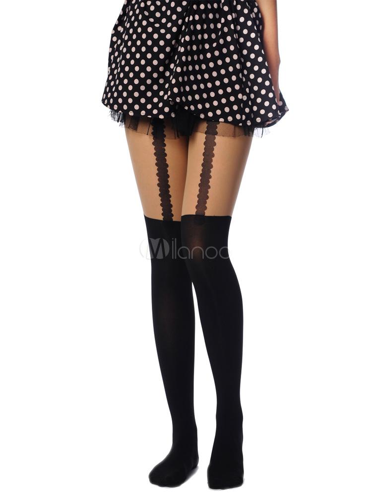 Black Nylon Harajuku Fashion Lolita Socks