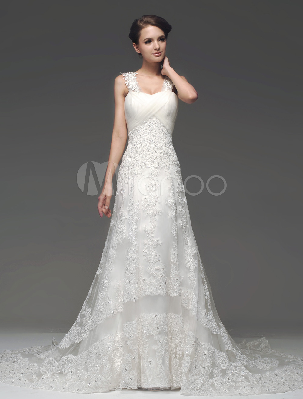 Court Train Ivory Straps Neck A-line Pleated Bridal Wedding Gown