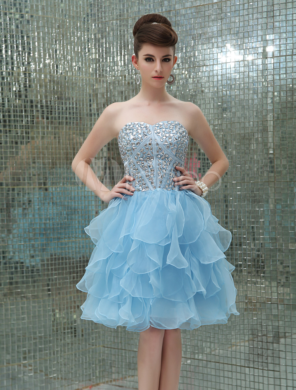 Buy Pastel Blue Cocktail Dress Tiered Organza Beaded Prom Dress Strapless Sweetheart Sleeveless A Line Short Party Dress for $129.99 in Milanoo store
