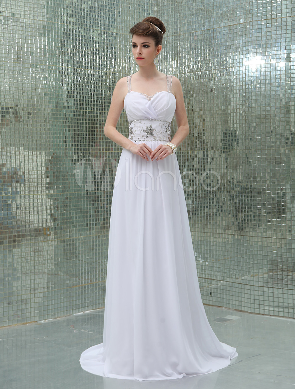 Buy A-line White Chiffon Pleated Sweetheart Neck Evening Dress with Sweep for $128.69 in Milanoo store