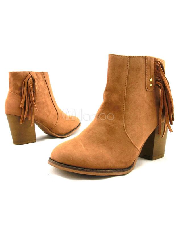 6f616ceba3 Alto talón botines del ovalada tacón grueso gamuza cuero flecos grandes  mujeres marrones -No.