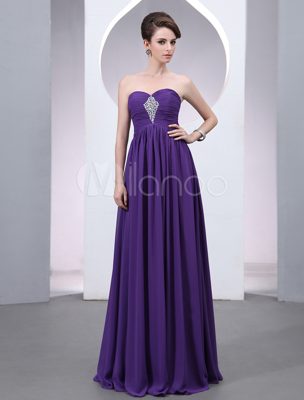 Buy Chiffon Evening Dress Lavender Beading A Line Prom Dress Strapless Sweetheart Floor Length Party Dress for $110.49 in Milanoo store