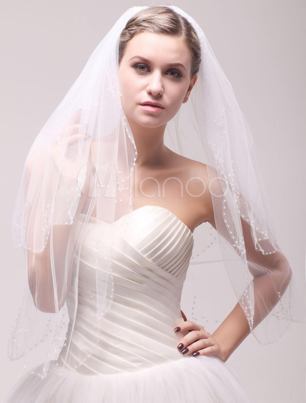 Ivory Net Classic Two-Tier Beading Bridal Wedding Elbow Veil