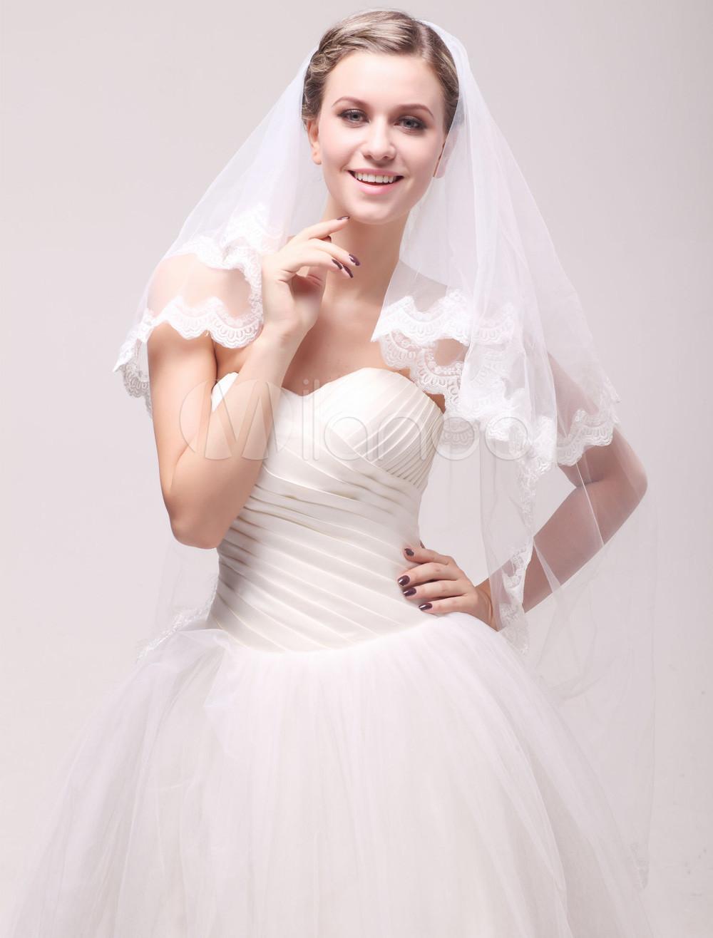 Ivory Net Two-Tier Lace Applique Edge Lace Bridal Waltz Veil
