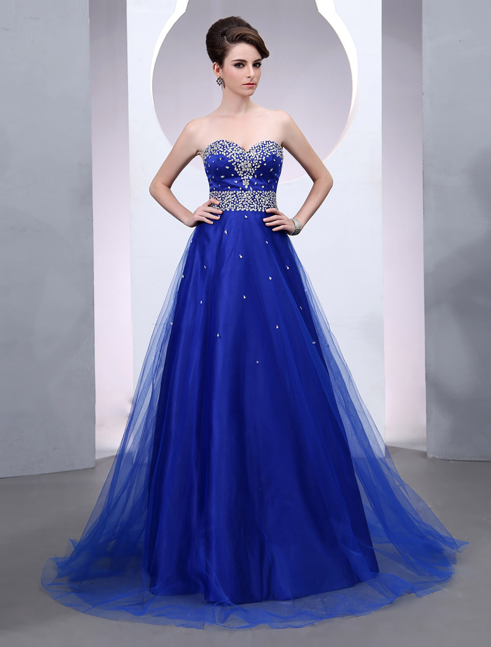Buy Blue Prom Dress 2018 Long Tulle Wedding Dress Royal Blue Backless Strapless Sweetheart Court Train Bridal Gown for $172.79 in Milanoo store