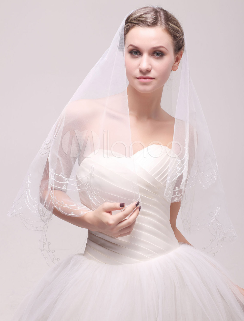 Ivory One-Tier Oval Pencil Edge Net Bridal Wedding Elbow Veil