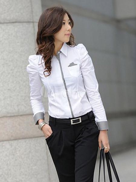 c6f81541e Blusa blanca con escote en V de manga larga - Milanoo.com