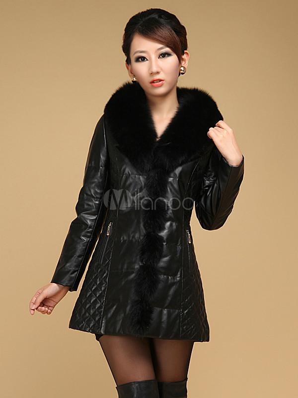 Veste beau cuir matelassé en peau de mouton pour femme