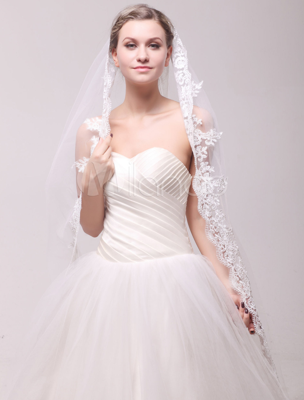 Ivory One-Tier Waterfall Lace Embroidered Bridal Cathedral Veil
