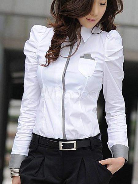 Blusa Blanca Con Escote En V De Manga Larga