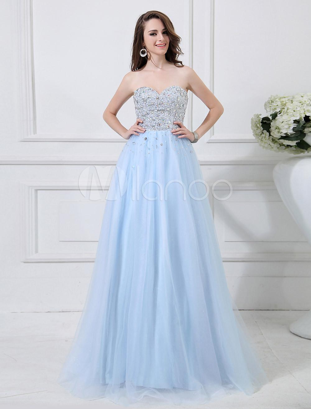 Vestiti Eleganti Azzurri.Vestito Da Gala Azzurro Elegante In Tulle Con Perline Con Scollo A Cuore A Terra