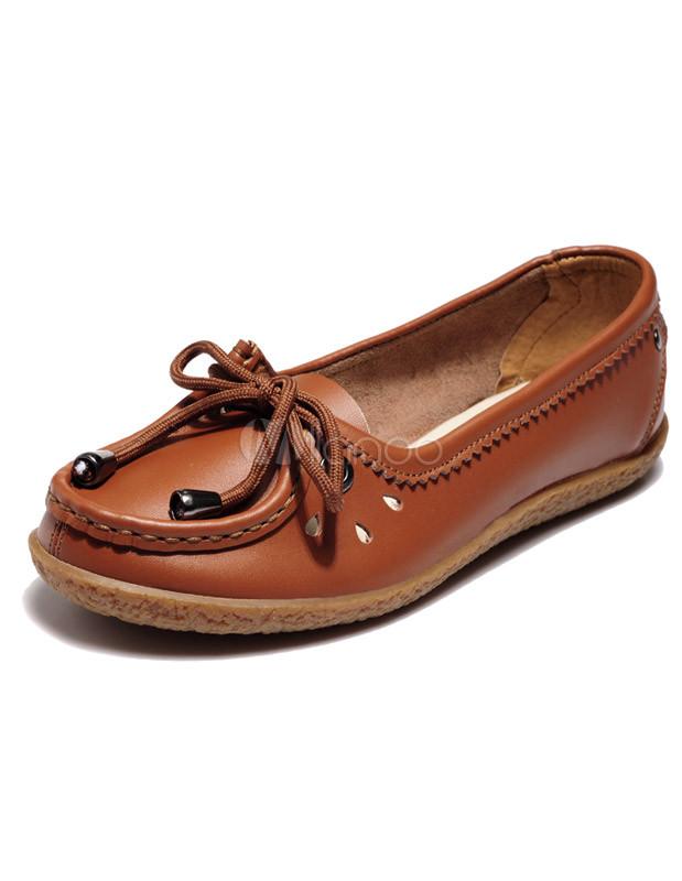 mejor selección 244e7 80a60 Elegante arco redondo del dedo del pie mocasines de cuero para mujer