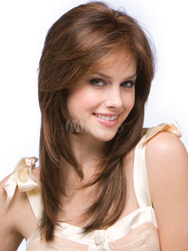 Women Synthetic Wig Side Swept Bang Straight Brown Wig Cheap clothes, free shipping worldwide