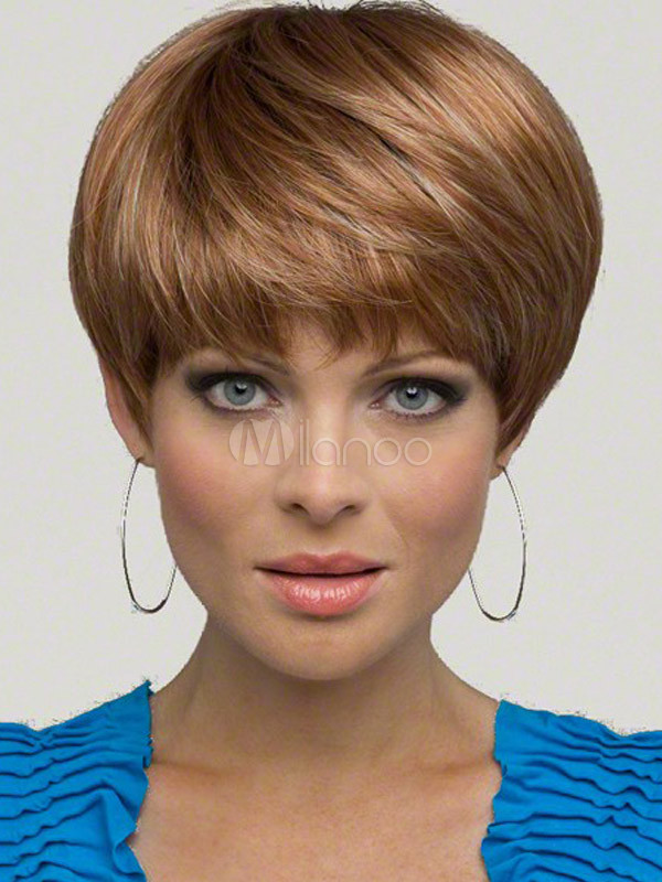 Light Brown Synthetic Straight Natural Women's Short Wig