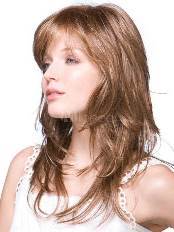 Stilvolle Stufige Perücke Aus Synthetik Haar In Hellbraun Milanoocom