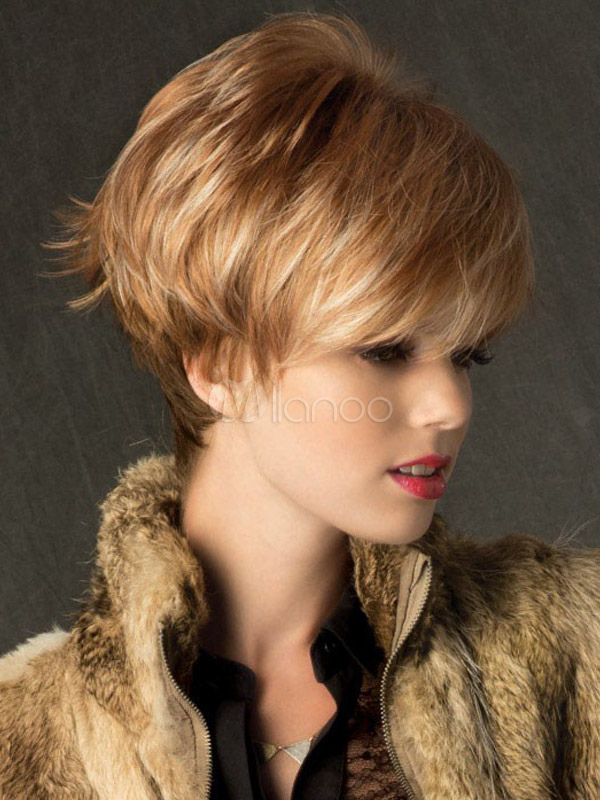 Gold Straight Short Wig For Women