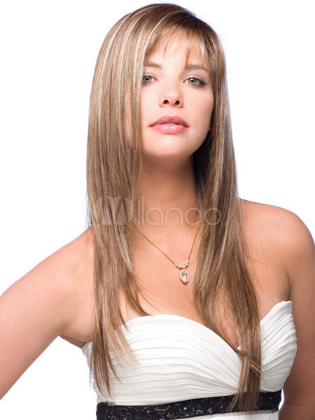 Elegant Gold Synthetic Straight Long Wig For Woman