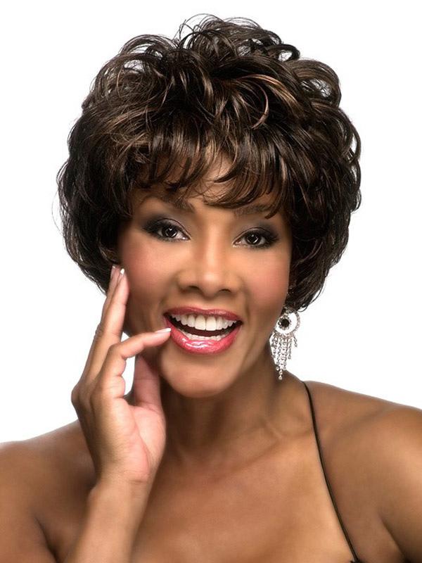 Women's Short Wigs Deep Brown Curly Heat Resistant Fiber Afro American Wig