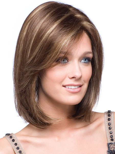 Gold Hair Wigs 2018 Women Side Parting Shoulder Length Straight Synthetic Wig