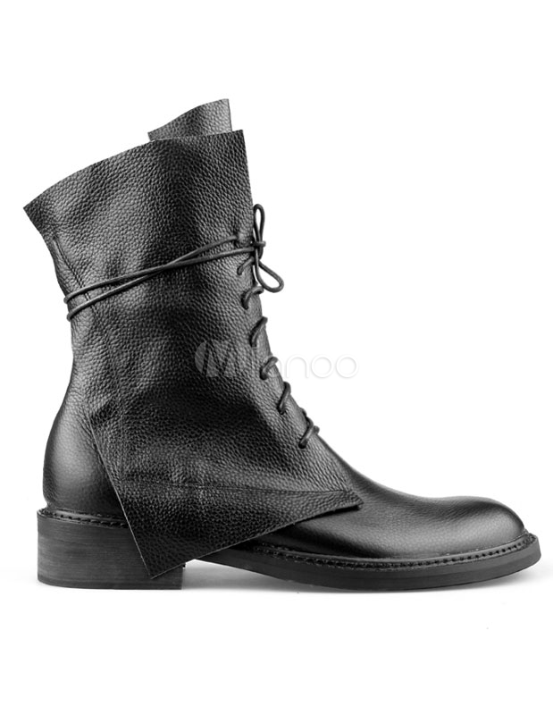 separation shoes 0b4ea e563e Coole Herren Boots aus Rindleder mit Schnüren in Schwarz