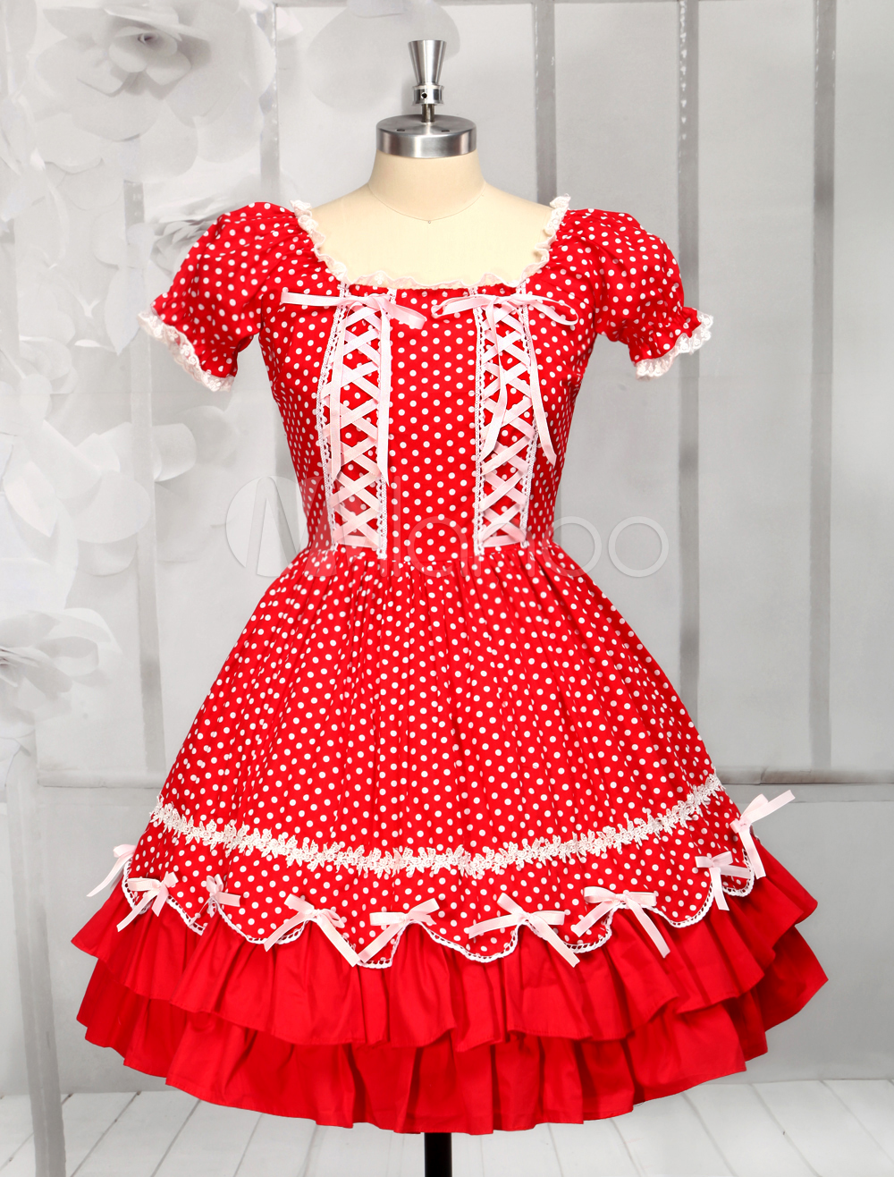 Buy Red Cotton Short Sleeves Square Neck Drawstring Lolita Dress for $89.99 in Milanoo store