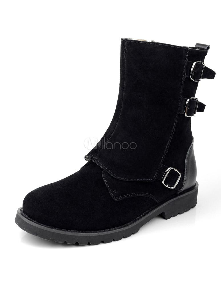 newest collection e6b35 193ac Schwarze Herren Boots aus Rindleder mit Schnallen