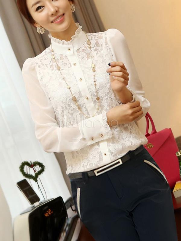 blouse attrayante f minin d tail dentelle et col montant. Black Bedroom Furniture Sets. Home Design Ideas