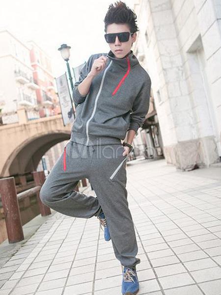 ... Soporte elegante Collar Color sólido algodón ropa deportiva para hombre  -No.5 ... f32adc19b78
