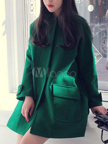 Manteau femme laine vert