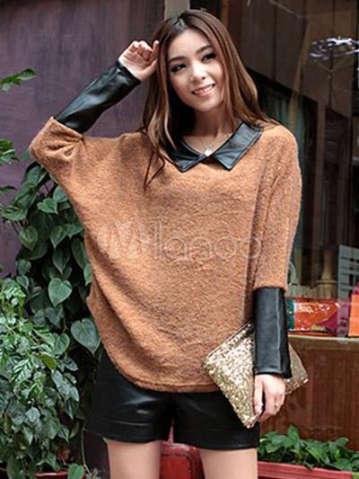3577b1fade9a7 Charmant pull de chemise intégrée pour femme mode manches longues-No.1 ...