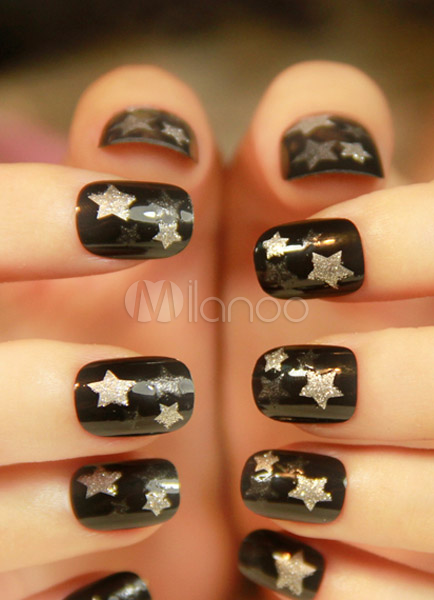 Black Star Pattern Geometric Synthetic Nail Stickers Cheap clothes, free shipping worldwide