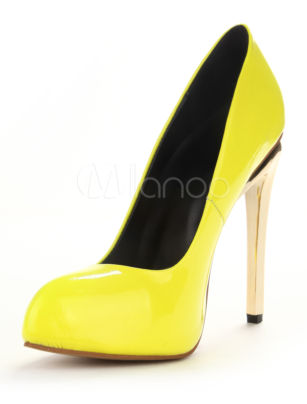 Buy Yellow Patent PU Leather Modern Pointy Toe Heels for $47.99 in Milanoo store