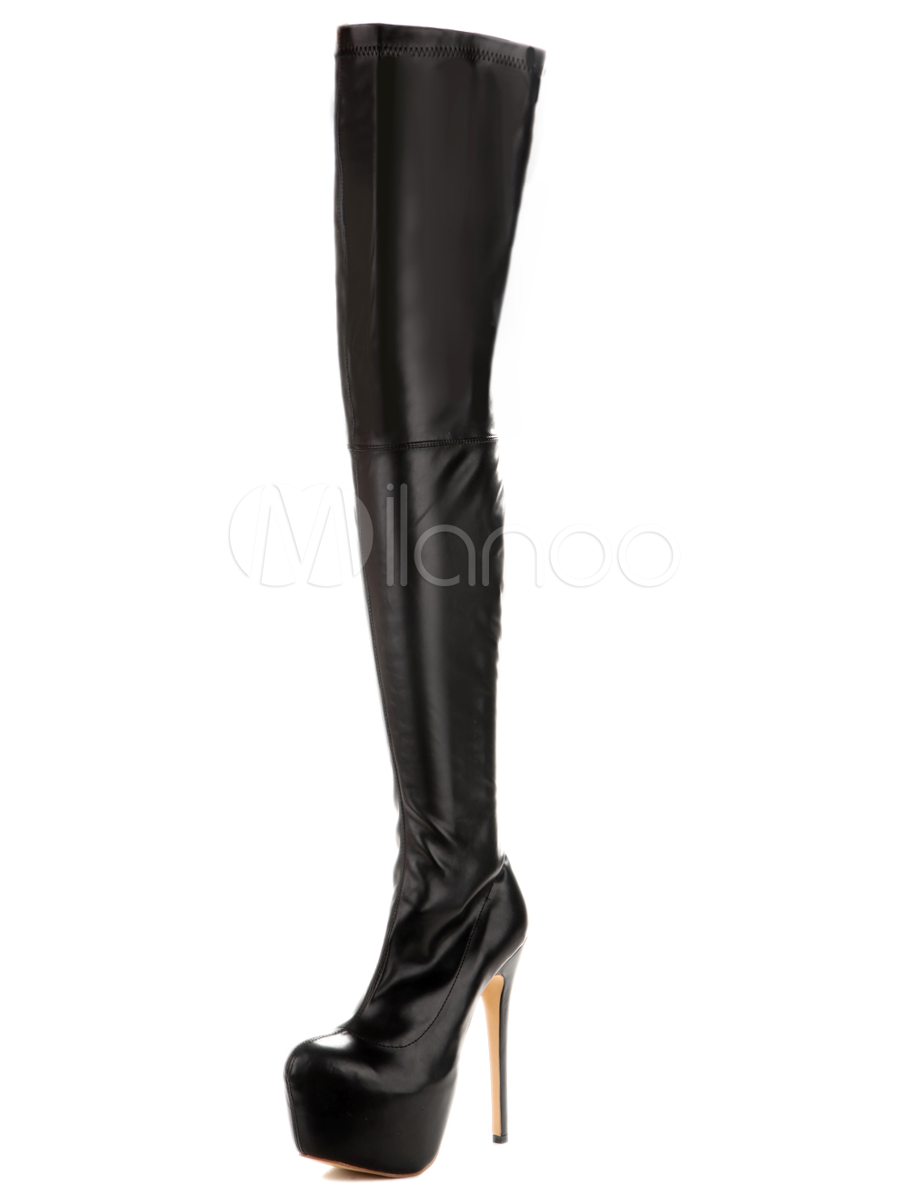 b06496a4f753 ... Thigh High Boots Black PU Leather Sexy Over Knee Boots For Woman-No.8.  12. 40%OFF. Color Black