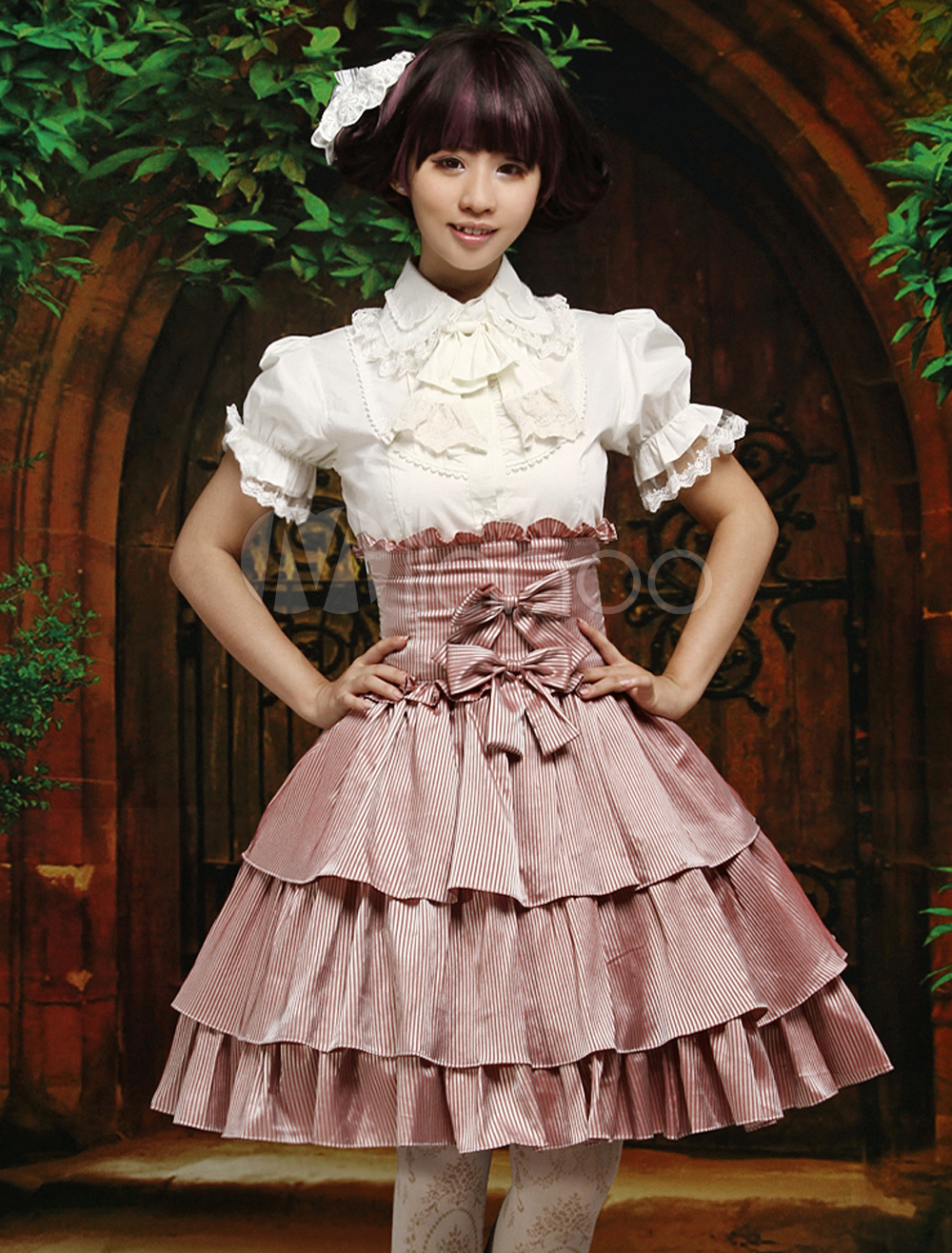 Pink White Stripe High Waist Lolita Short Skirt Bows Multi-layer